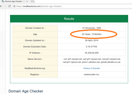 Checking domain age