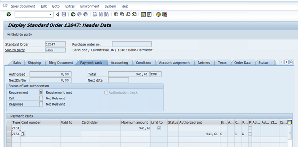 Screenshot of Credit Card order in SAP