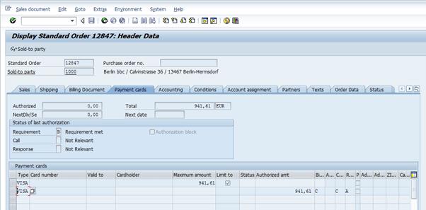 Screenshot of Credit Card order in SAP