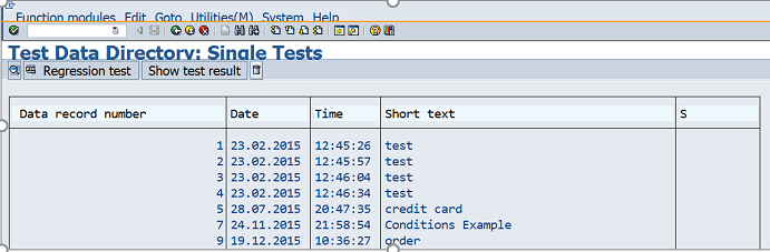 Test Data directory in SAP