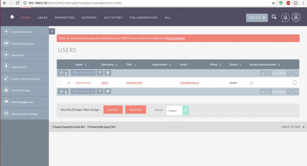 SuiteCRM Adding users