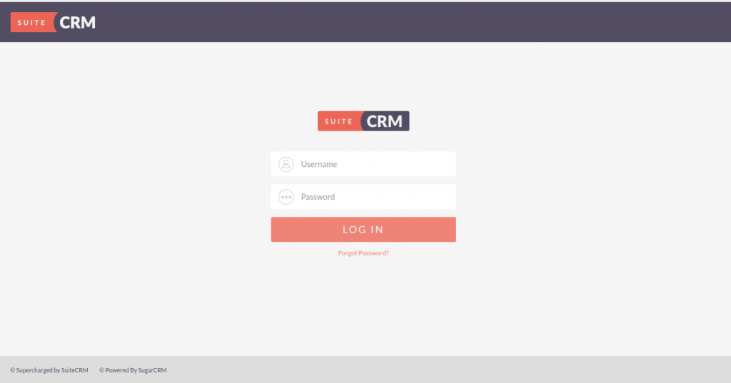 SuiteCRM login page