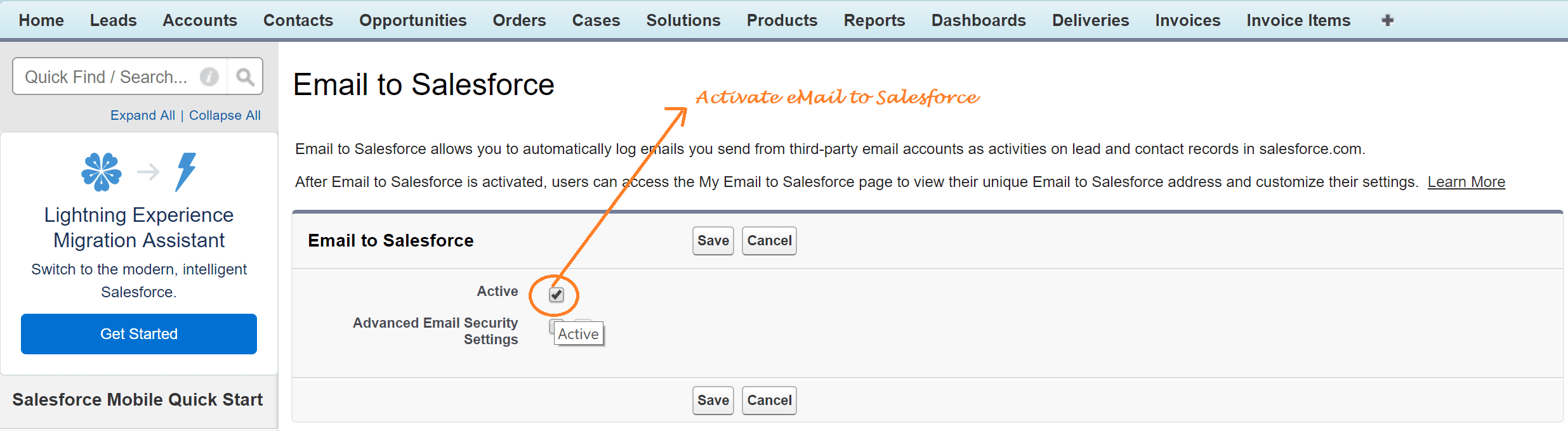 Activate the email to salesforce