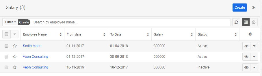 Salary module of HRMS