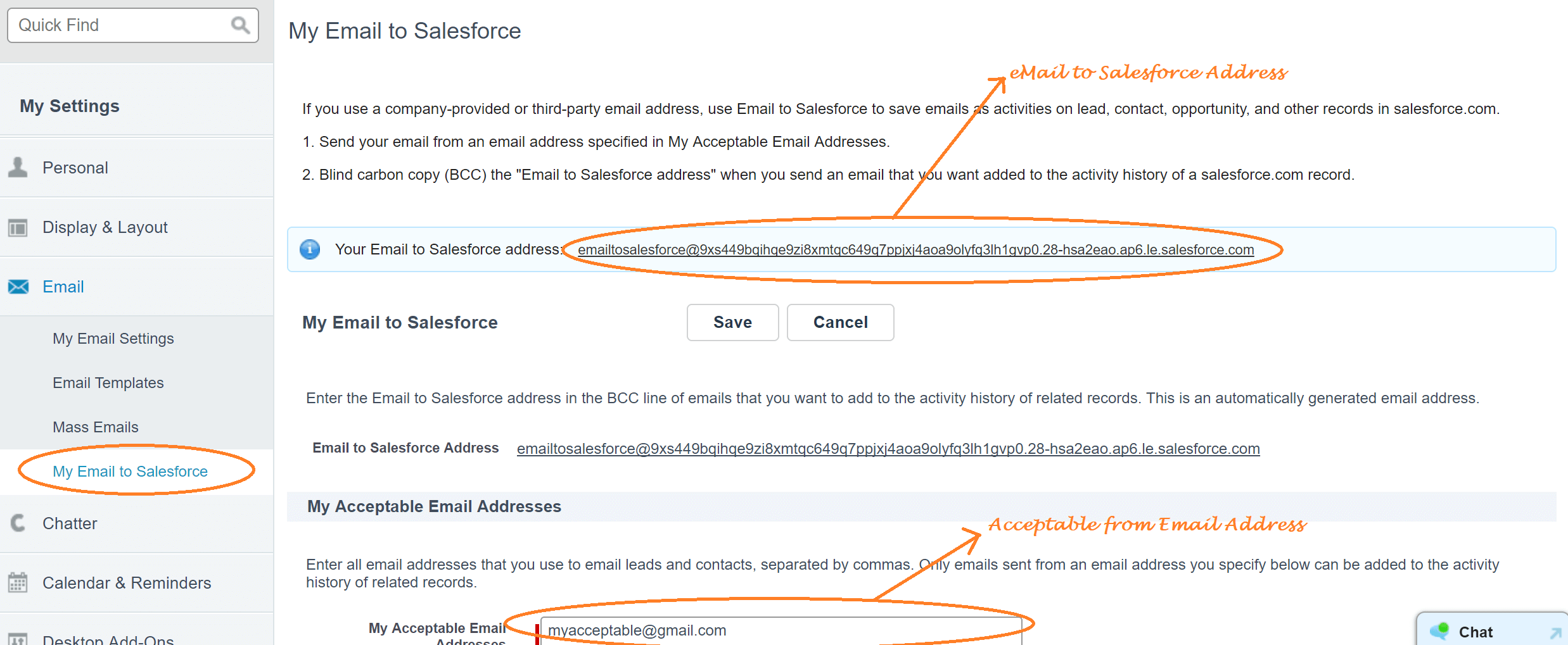 acceptable email and mail to salesforce address