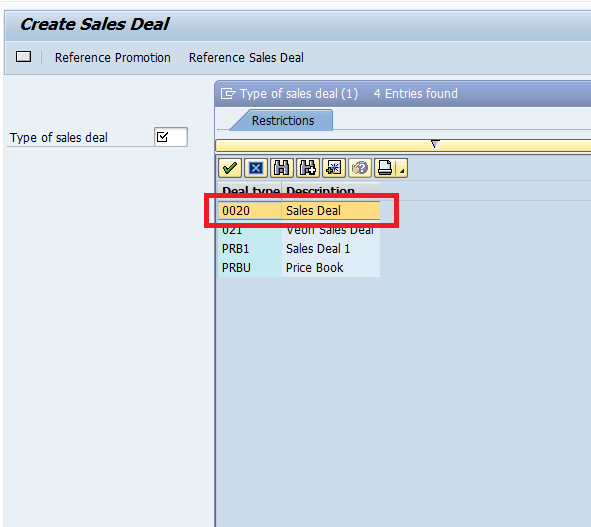 Screenshot Sales Deal type