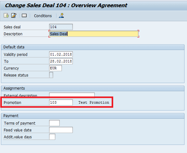 Screenshot of Attach the Promotion to the sales Deal