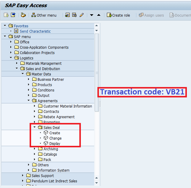 Screenshot of Sales deal Transaction Code