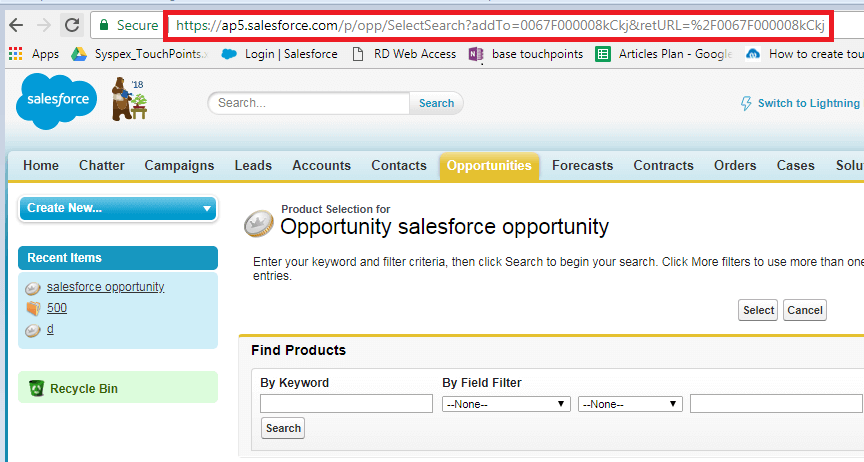 Navigate to Opportunity Product Add