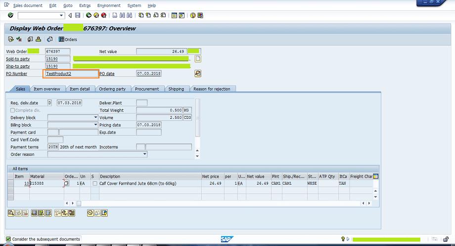 Screenshot of Test Product
