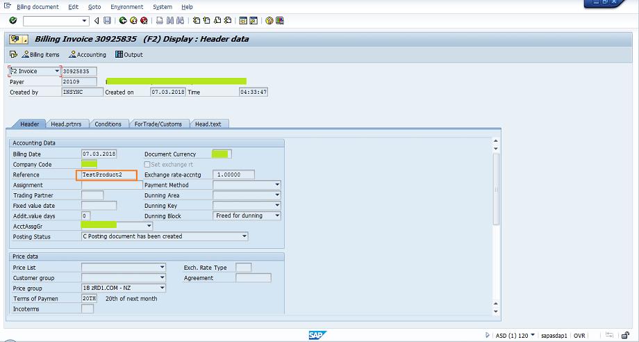 Screenshot of invoice header data