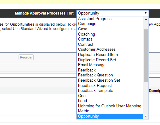 Approval Processes dropdown