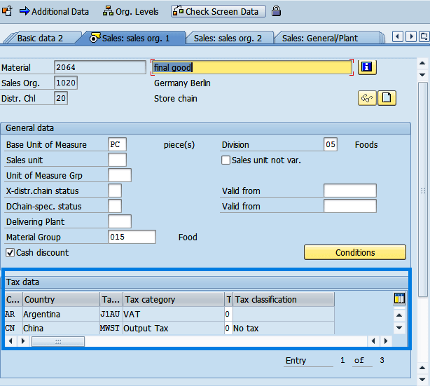 Screenshot of enter tax data