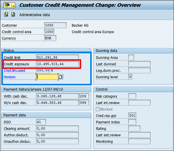 Credit limit and Credit exposure of customer