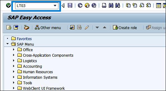 Enter transaction code LT03