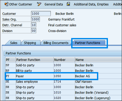 Partner functions in sales area data