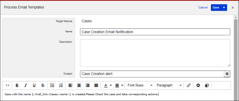 Process Email Templates of Cases