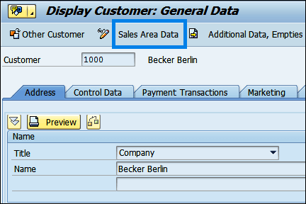 Screenshot of Sales Area Data