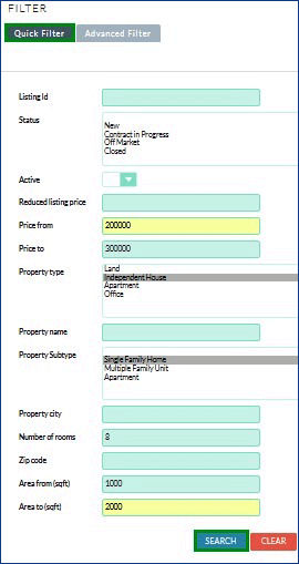 Screenshot of Listing filter with details