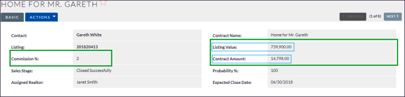 Contract amount calculation based on listing value
