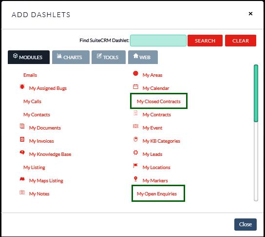 Screenshot Selecting the module