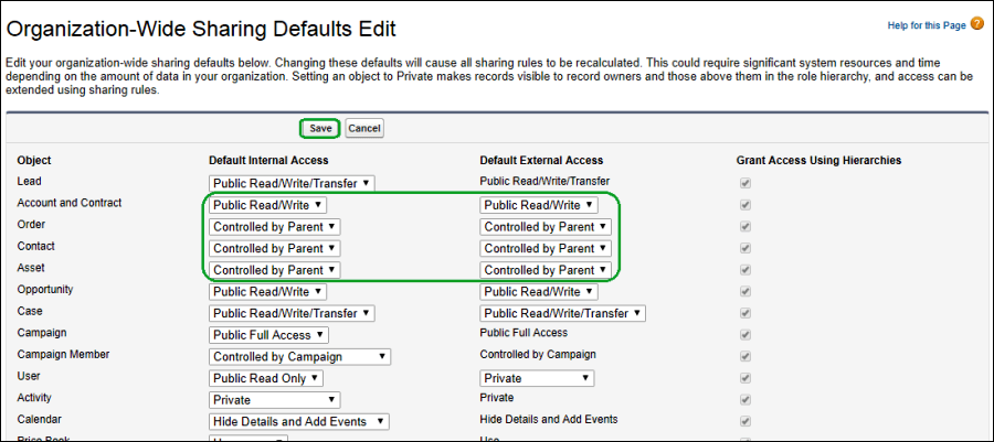 Screenshot of Default Internal Access and Default External Access