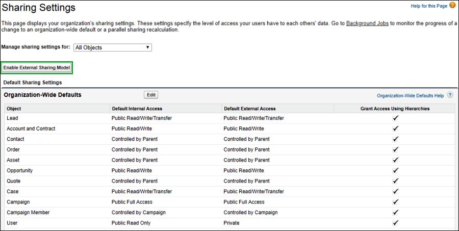 Screenshot of Enable External Sharing Model