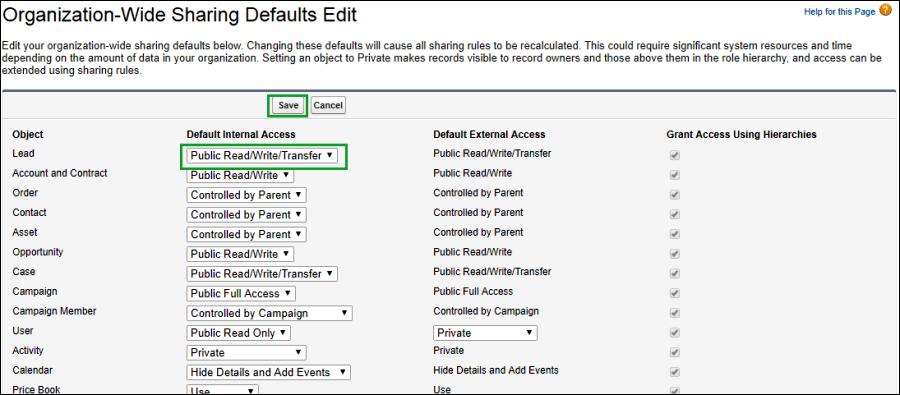 Screenshot of Organization wide sharing defaults