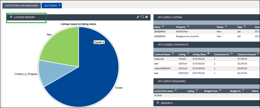 Screenshot of Report dashlet