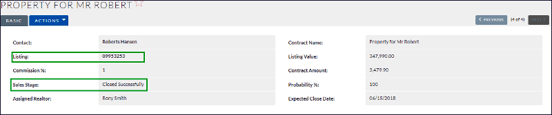 Screenshot of closed contract