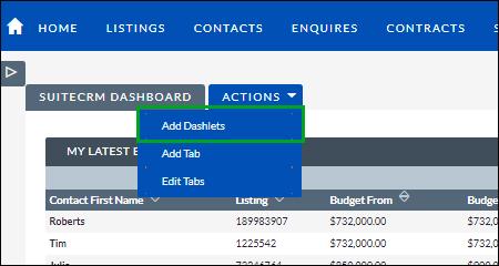 Screenshot of navigating to SuiteCRM dashboard
