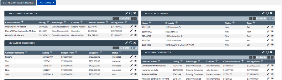SuiteCRM dashboard which displays key actionable information dashlets