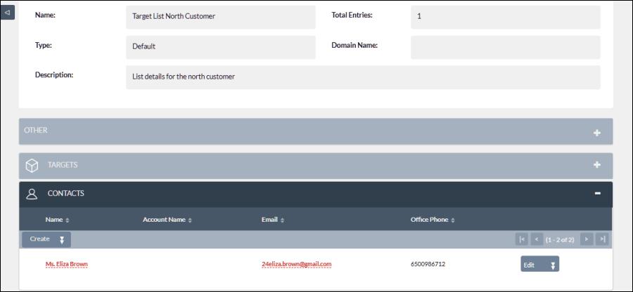 Screenshot of target list north customer