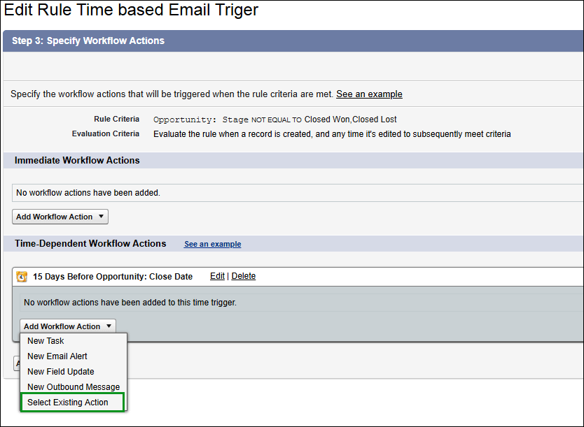 Screenshot of Adding Workflow action