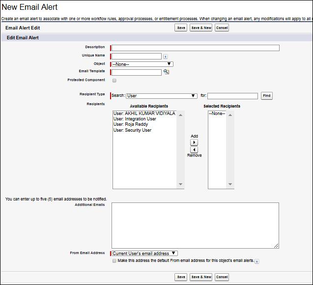 Screenshot of Creating an Email Alert