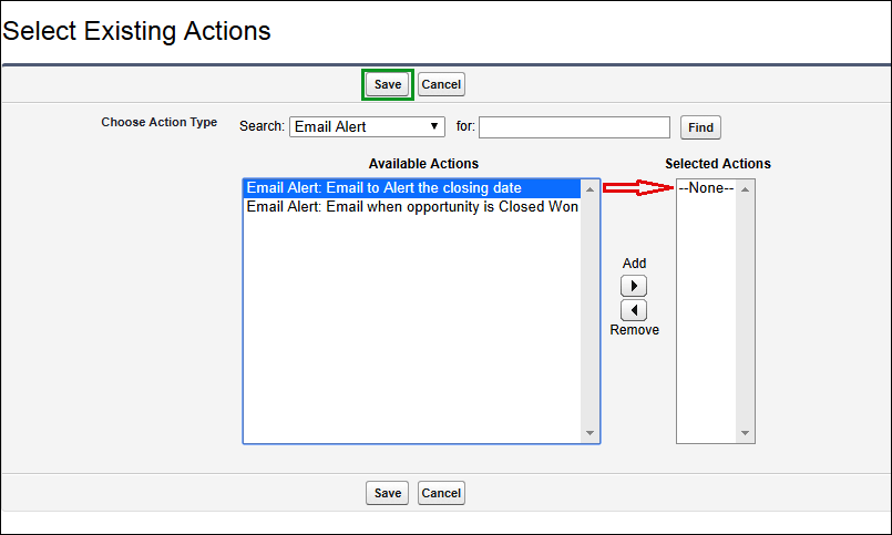 Screenshot of Selecting Existing actions