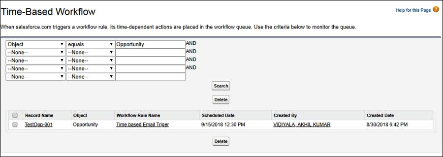 Screenshot of Time Based Workflow