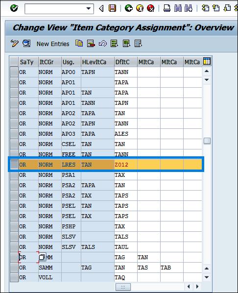Screenshot of assigned item category