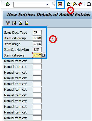 Screenshot of enter Sales document type