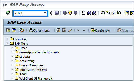 Screenshot of enter transaction code VOV4 in SAP