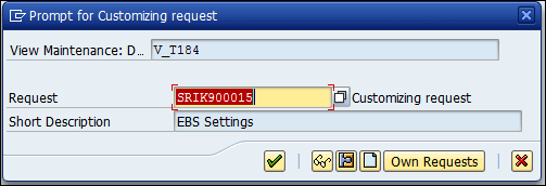 Screenshot of prompt for Customizing request SRIK900015