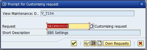 Screenshot of prompt for Customizing request SRIK900015