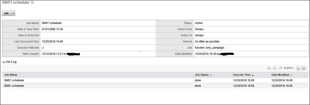 Screenshot of creating the scheduler