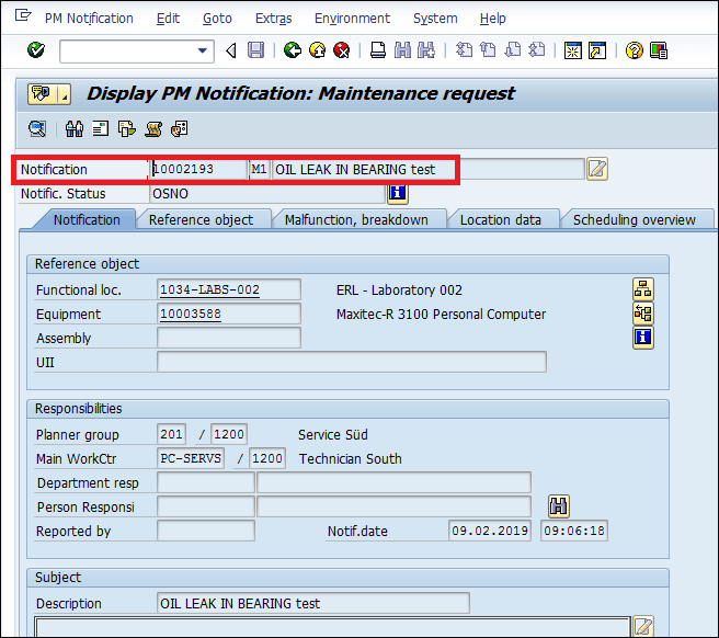Screenshot PM Notification has been created in SAP
