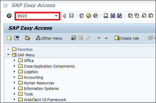 Screenshot of Enter transaction code IW23 in SAP