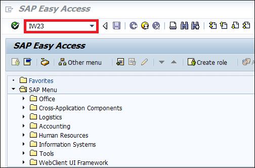 Screenshot of Enter transaction code IW23 in SAP