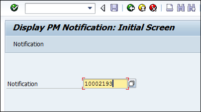 Screenshot of Entering Notification number in SAP