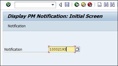Screenshot of Entering Notification number in SAP