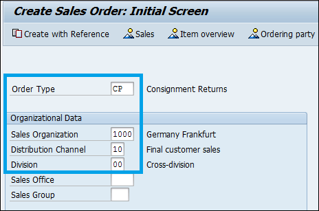 SAP Consignment Pickup order type