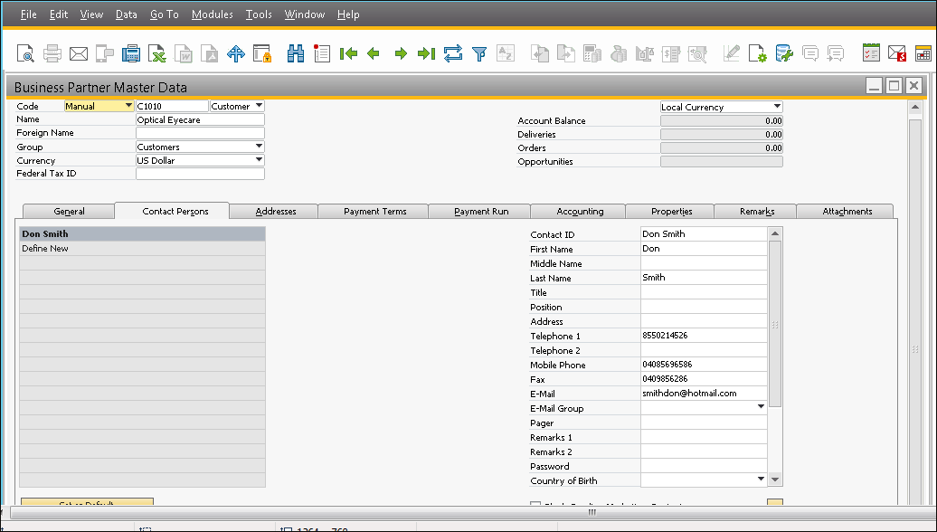 Screenshot Account and Contact are created in SAP B1
